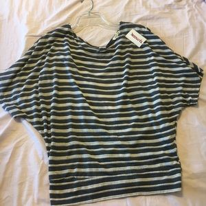Striped dolman shirt with open back